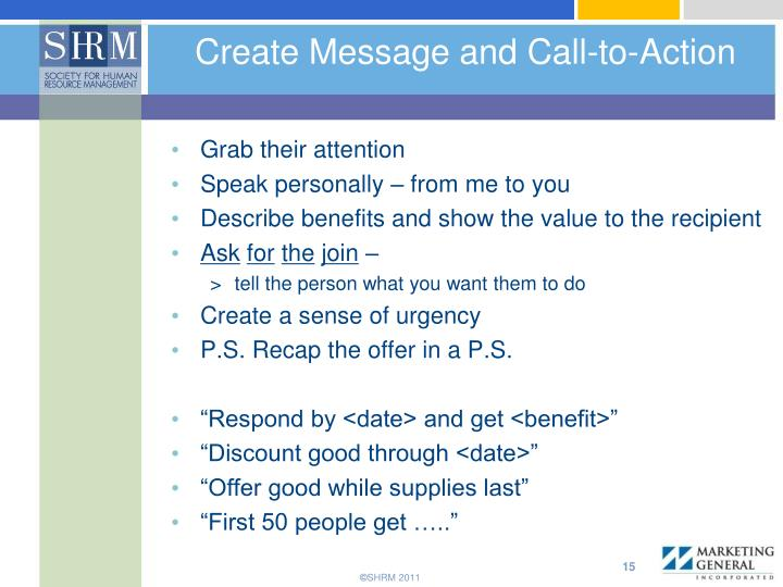 Create Message and Call-to-Action