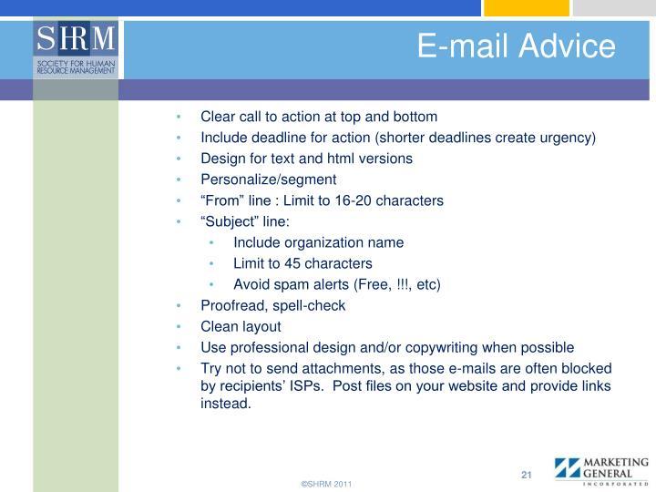 E-mail Advice