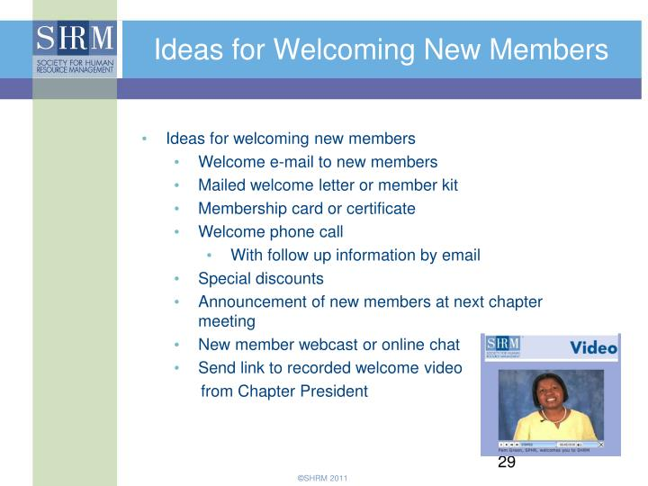 Ideas for Welcoming New Members