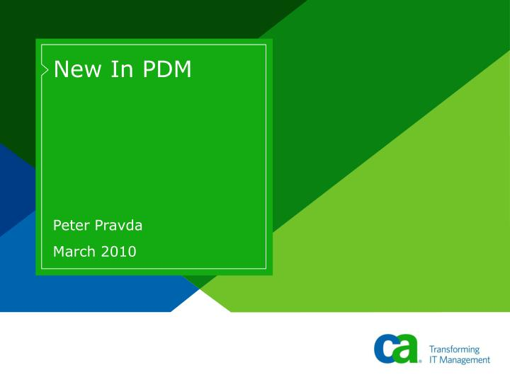 New in pdm