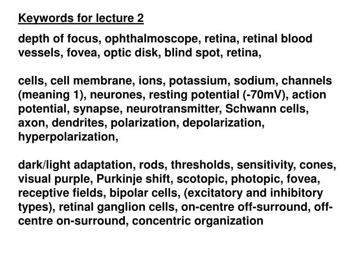 Keywords for lecture 2