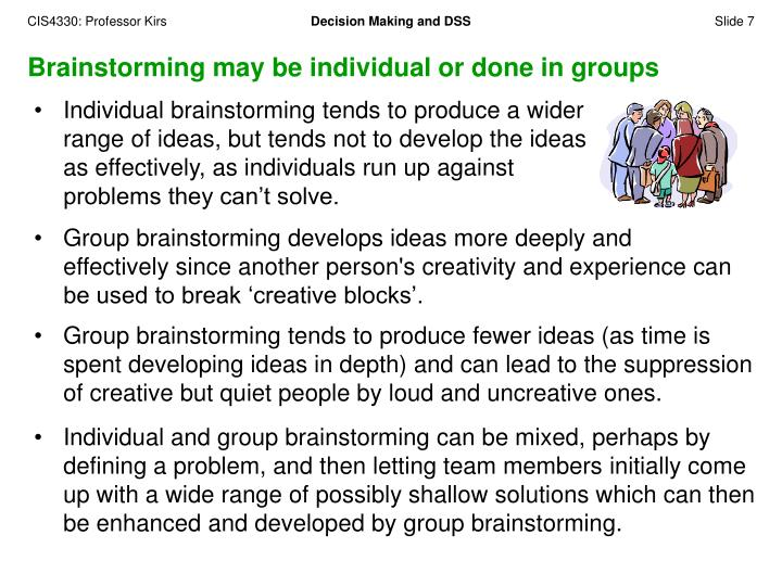 Brainstorming may be individual or done in groups