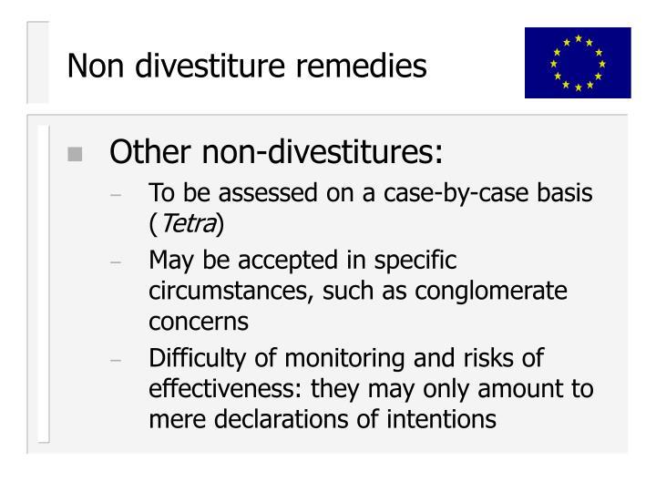 Non divestiture remedies