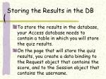storing the results in the db