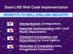 state lhd well code implementation