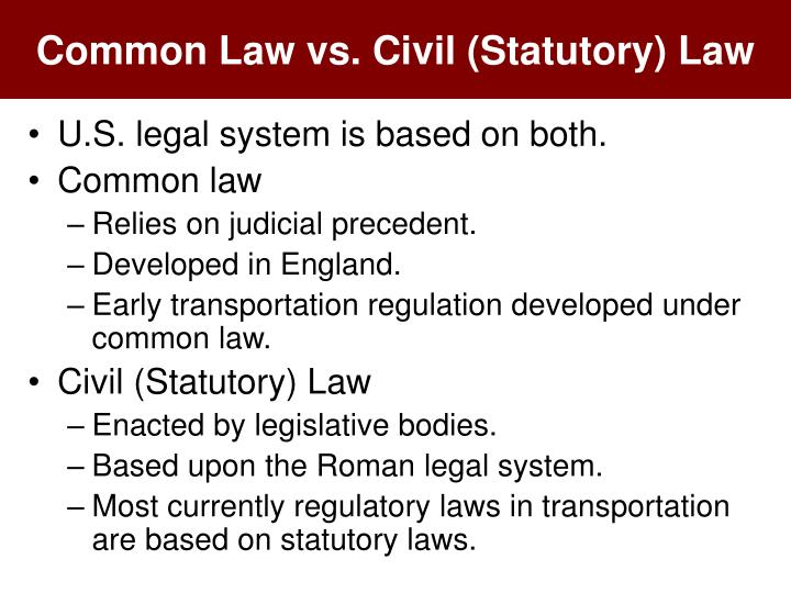 common law versus civil law systems essay In civil-law systems, by contrast, codes and statutes are designed to cover all eventualities and judges have a more limited role of applying the law to the case in hand  common-law systems.