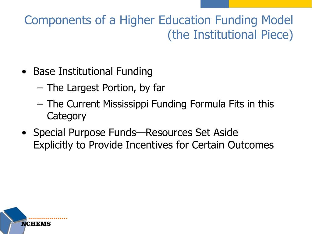 Components of a Higher Education Funding Model (the Institutional Piece)
