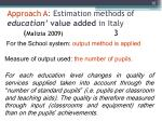 approach a estimation methods of education value added in italy malizia 2009 3