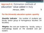 approach a estimation methods of education value added in italy versace 2009 5