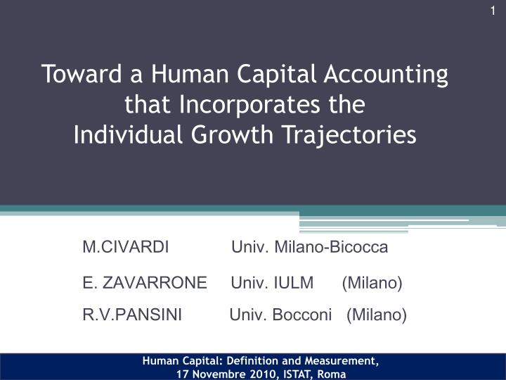 toward a human capital accounting that incorporates the individual growth trajectories n.