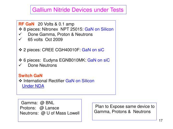 Gallium Nitride Devices under Tests