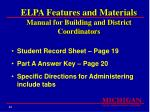 elpa features and materials manual for building and district coordinators