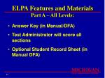 elpa features and materials part a all levels