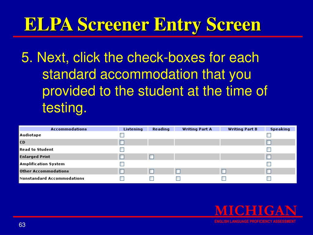 ELPA Screener Entry Screen
