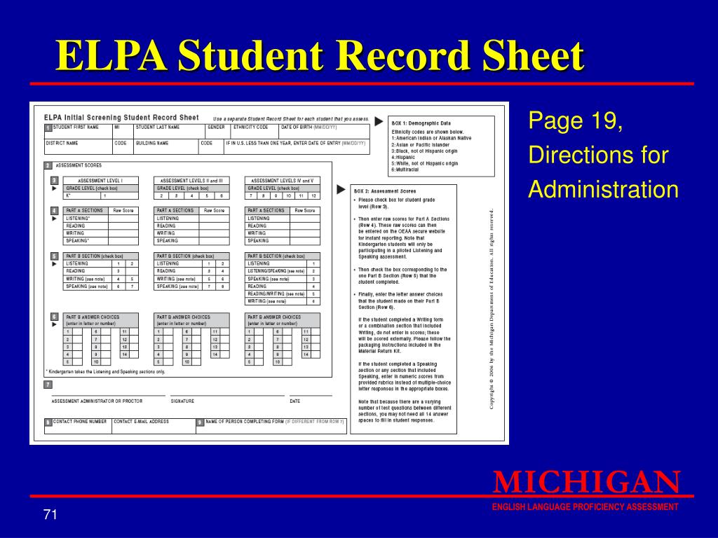 ELPA Student Record Sheet