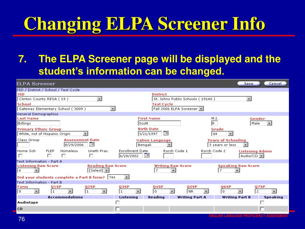 Changing ELPA Screener Info