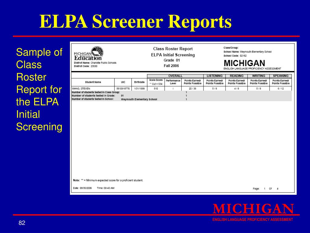 ELPA Screener Reports