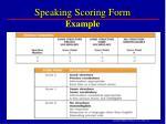 speaking scoring form example
