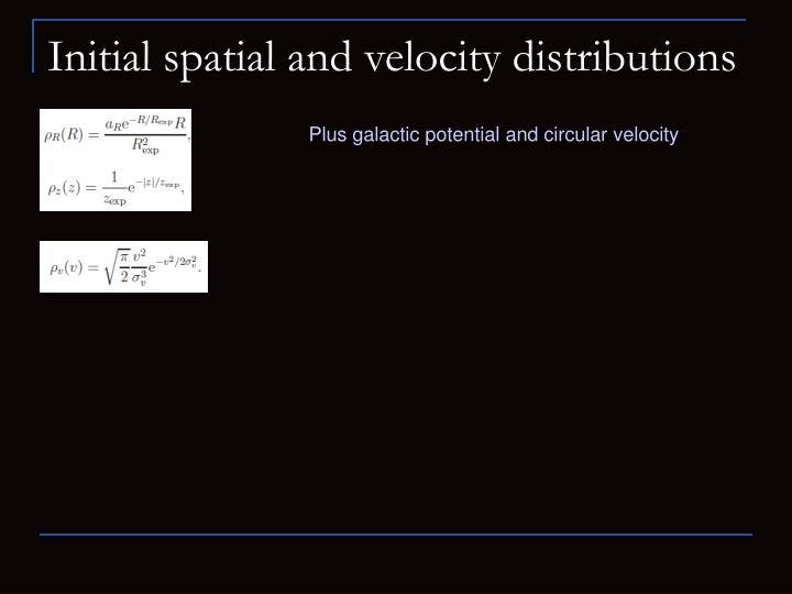 Initial spatial and velocity distributions