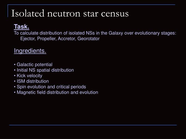Isolated neutron star census