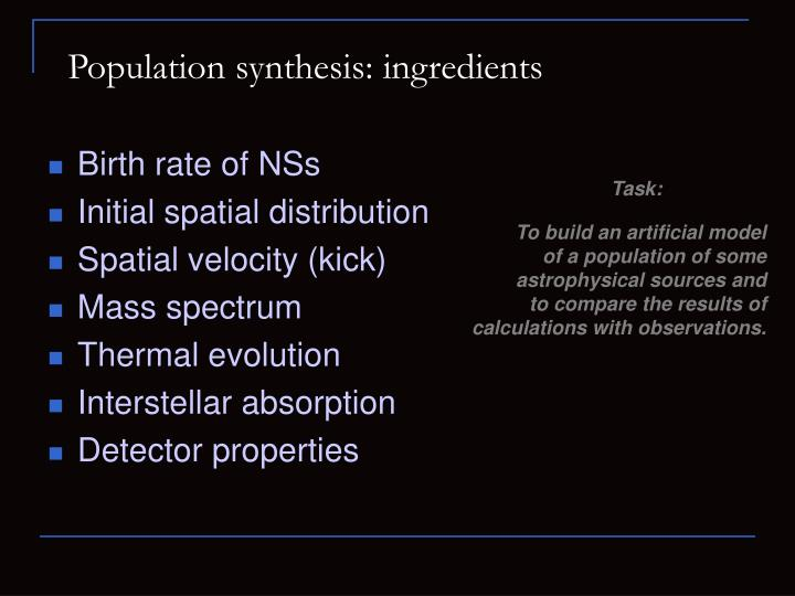 Population synthesis: ingredients