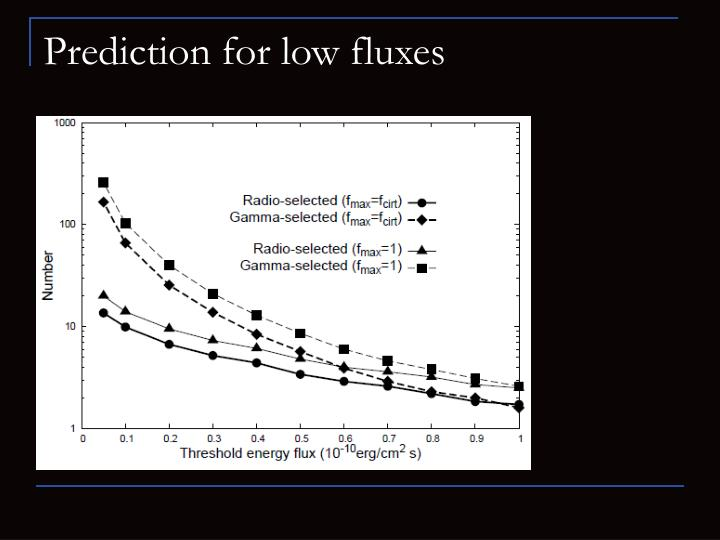 Prediction for low fluxes
