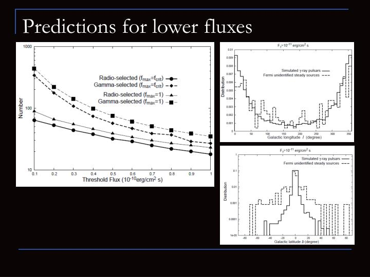 Predictions for lower fluxes