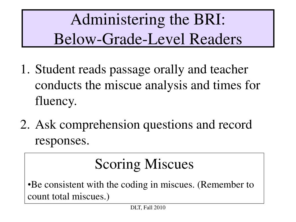 Administering the BRI:
