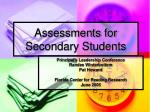 assessments for secondary students