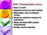 dar characteristics cont
