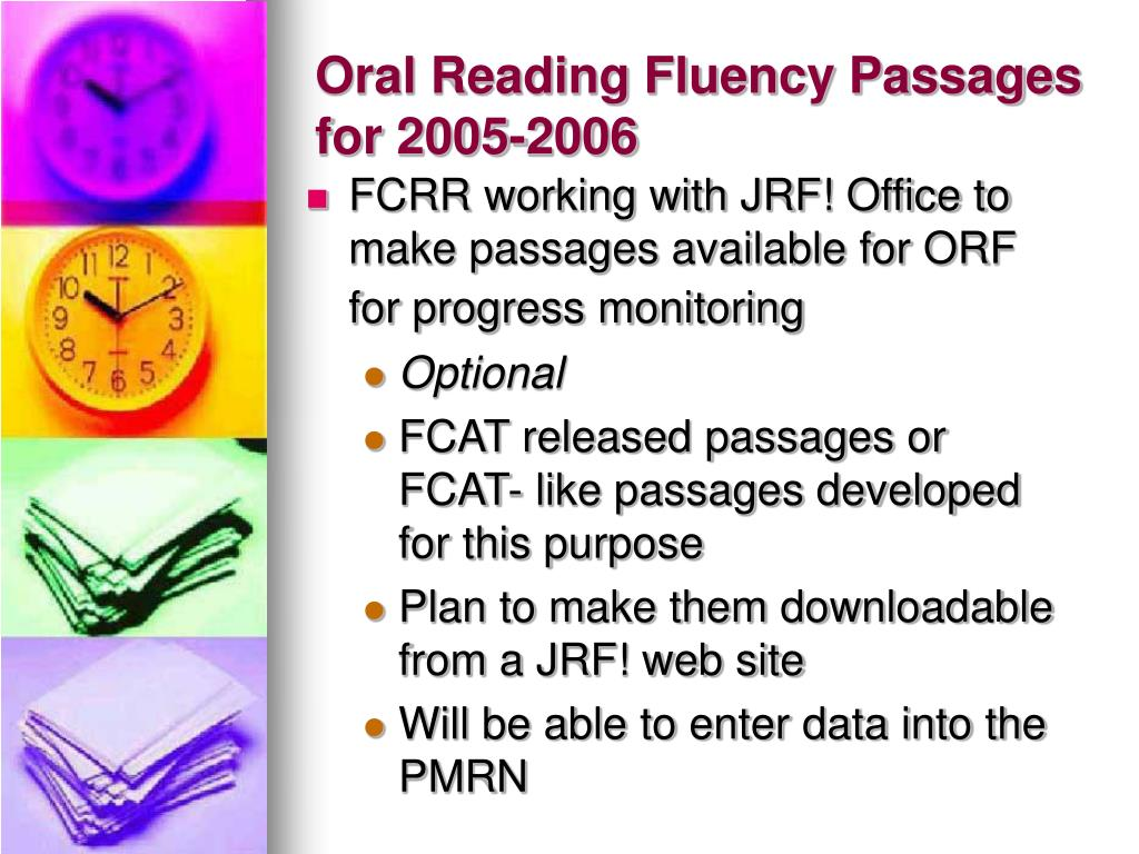 Oral Reading Fluency Passages for 2005-2006