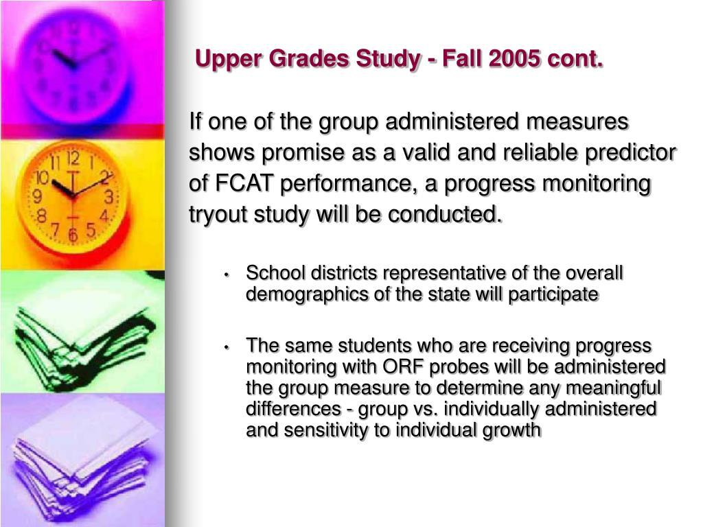 Upper Grades Study - Fall 2005