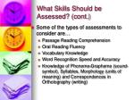what skills should be assessed cont