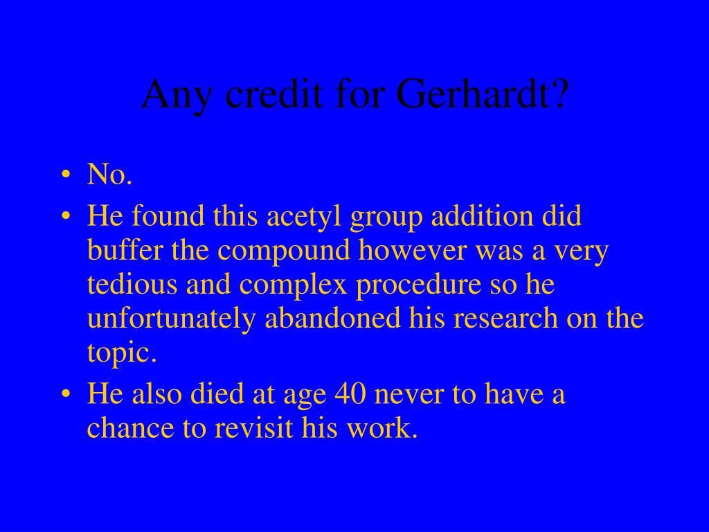 Any credit for Gerhardt?
