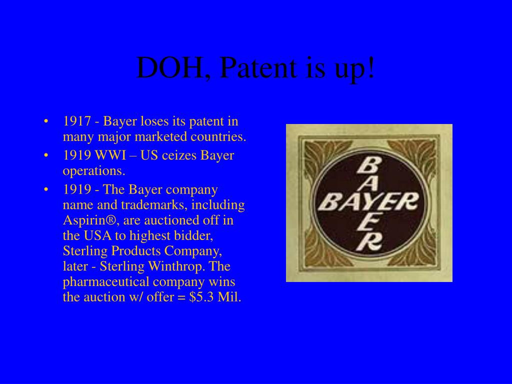 DOH, Patent is up!