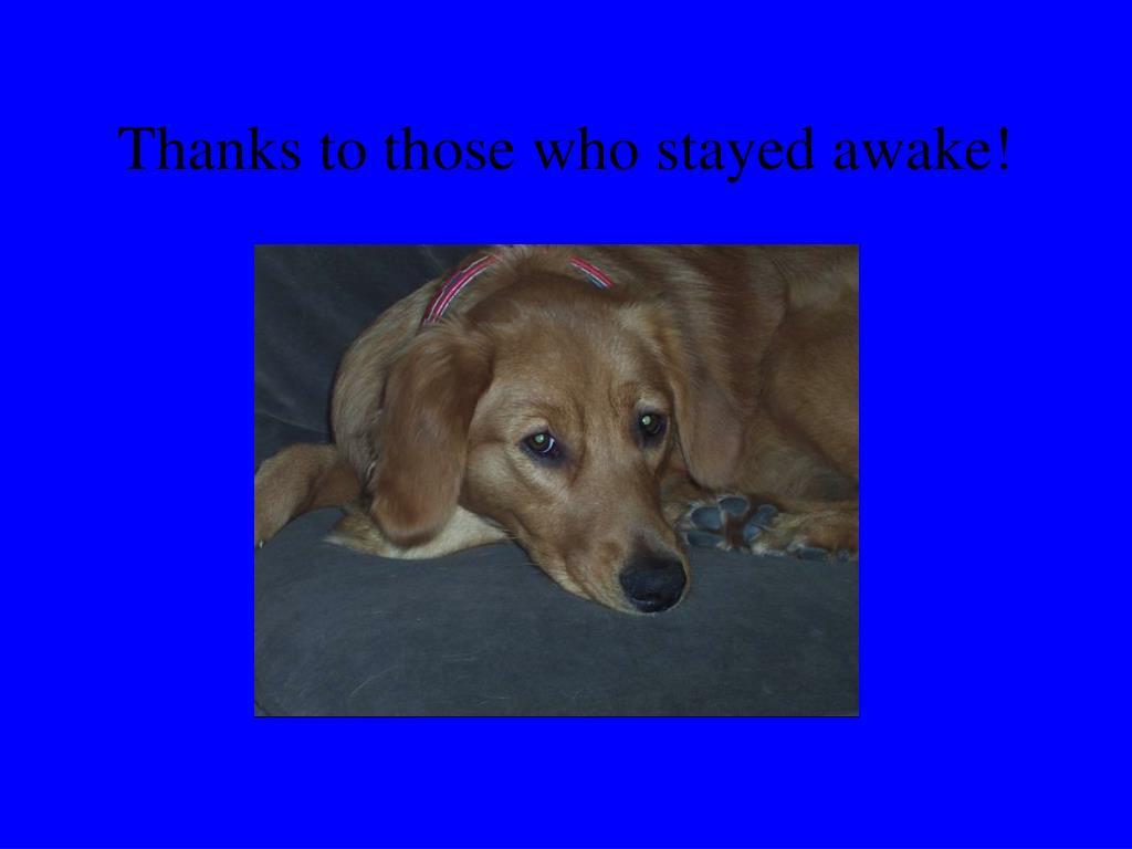 Thanks to those who stayed awake!