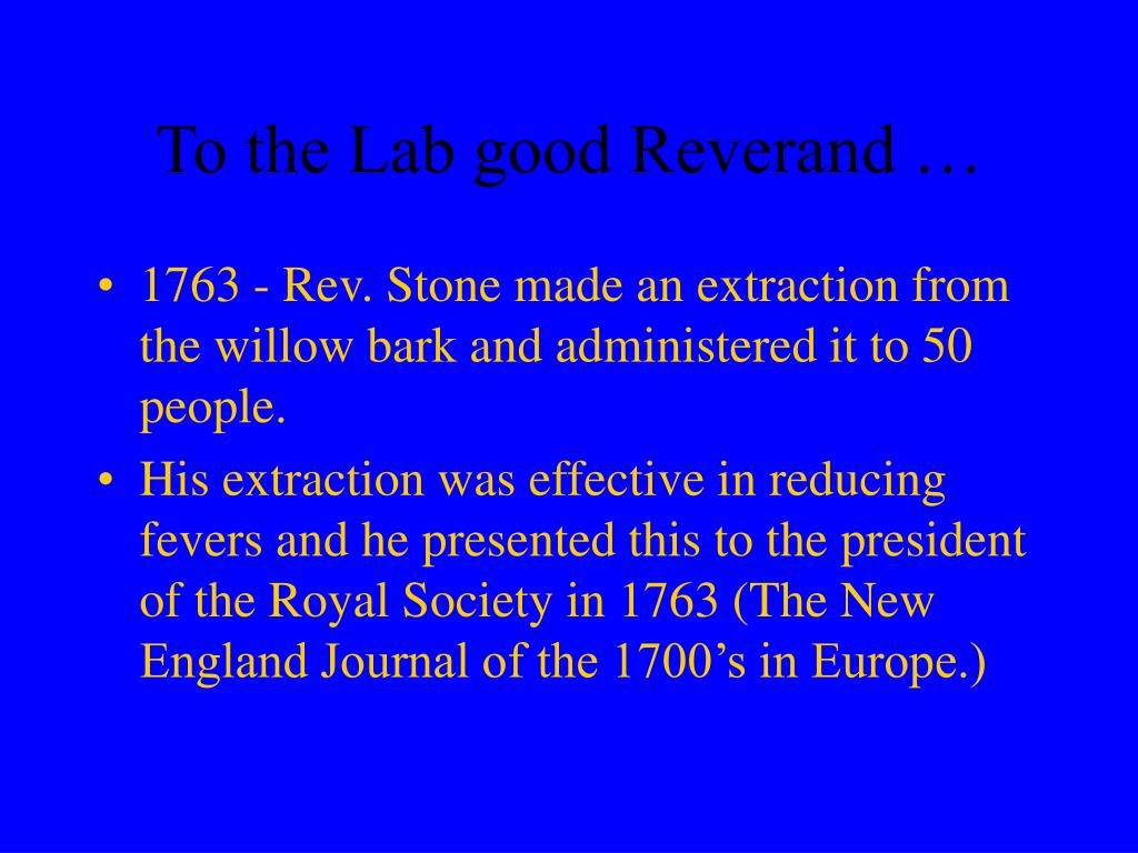 To the Lab good Reverand …