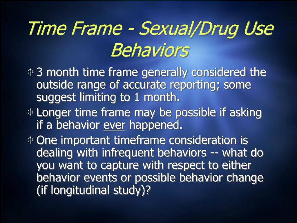 Time Frame - Sexual/Drug Use Behaviors