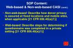 sop content web based non web based casi cont