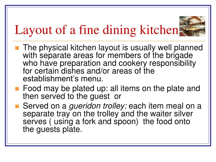 Layout of a fine dining kitchen