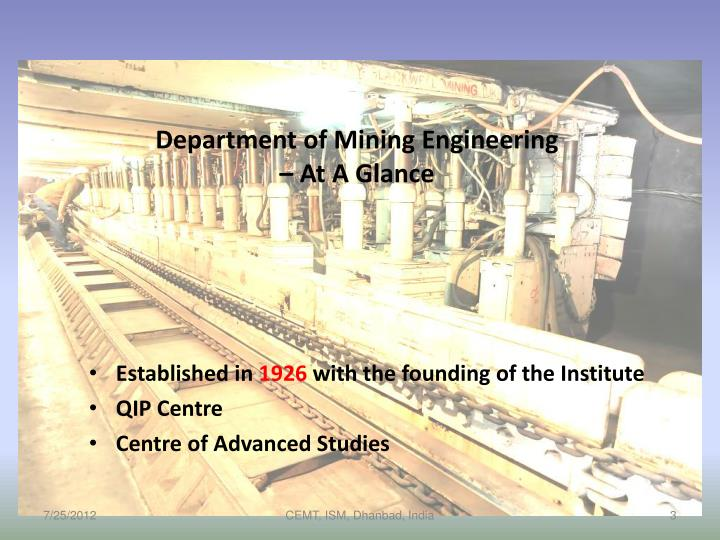 Department of mining engineering at a glance