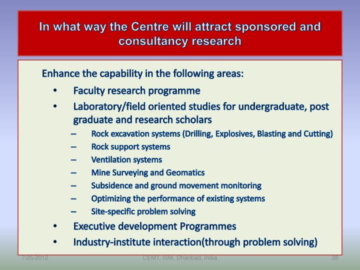 In what way the Centre will attract sponsored and consultancy research