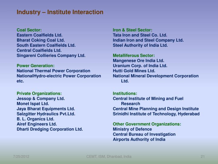 Industry – Institute Interaction
