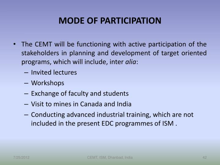 MODE OF PARTICIPATION