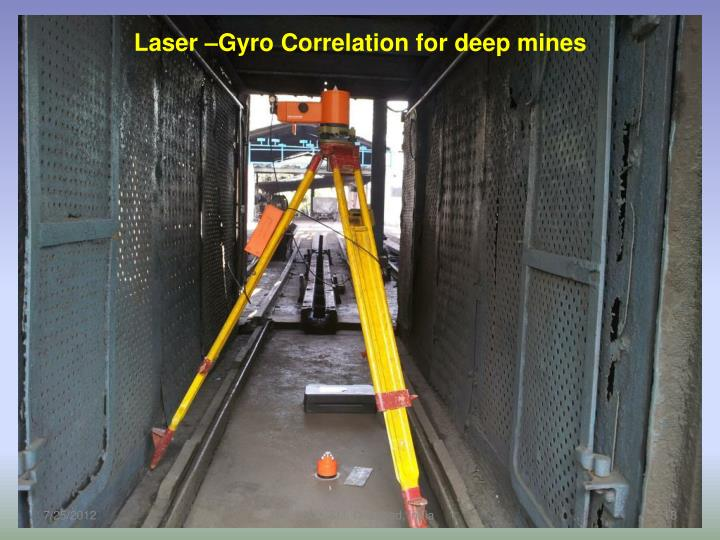 Laser –Gyro Correlation for deep mines