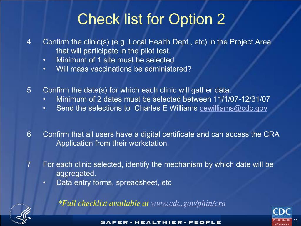 Check list for Option 2
