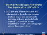 pandemic influenza doses administered pilot reporting event pidapre