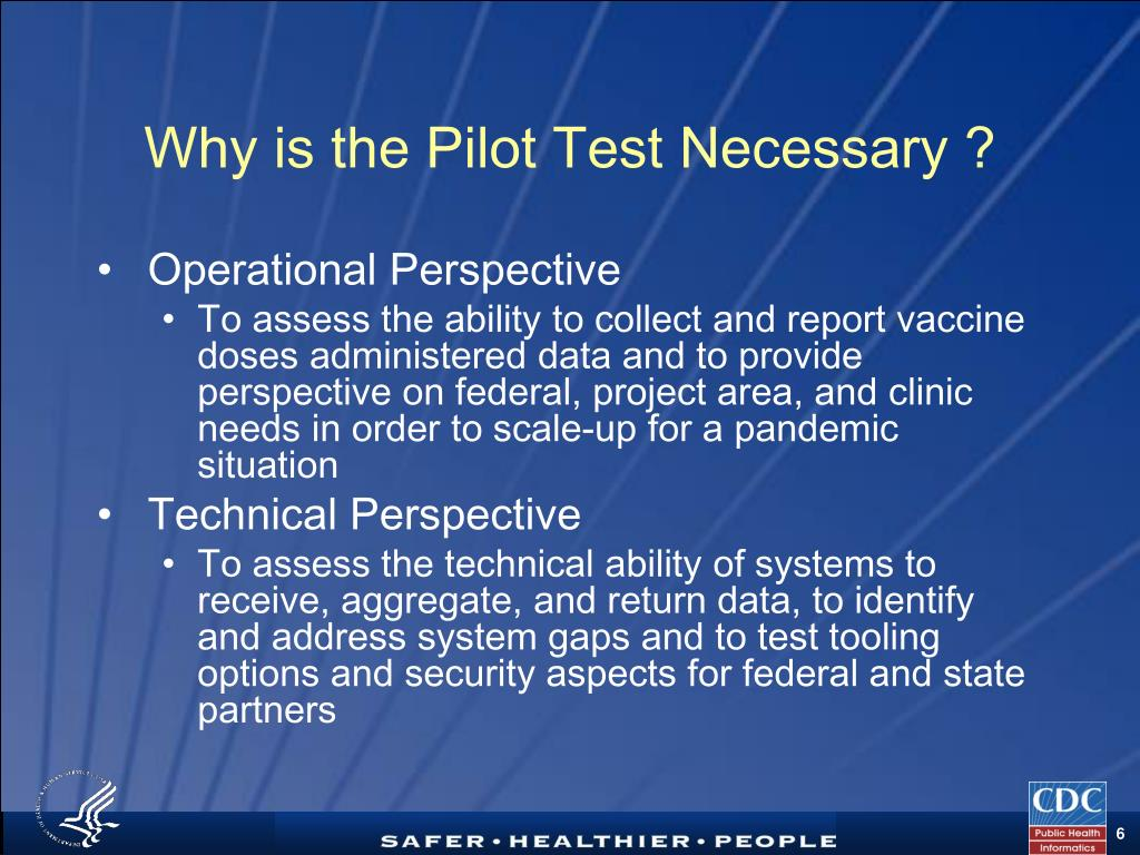 Why is the Pilot Test Necessary ?