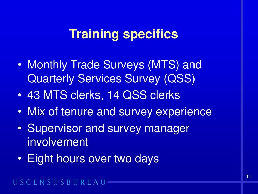 Training specifics