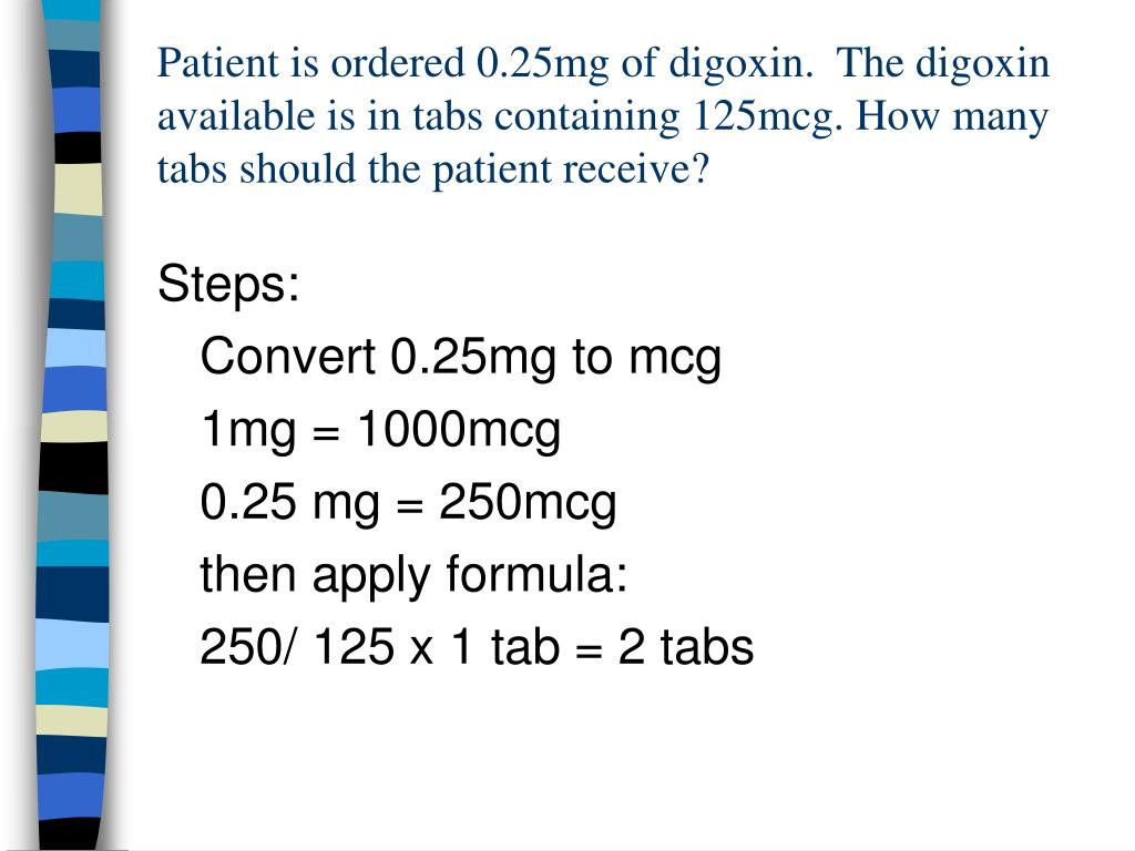 Patient is ordered 0.25mg of digoxin.  The digoxin available is in tabs containing 125mcg. How many tabs should the patient receive?